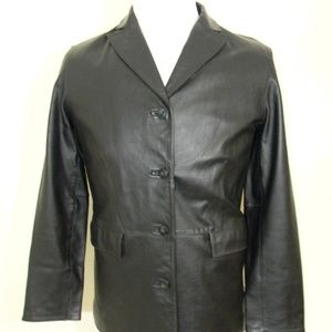 Leather Blazer Women's Medium Sports Coat Black